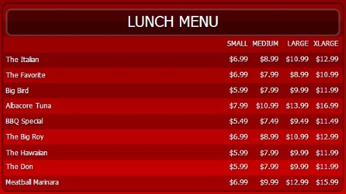 Digital Menu Board - 10 Items with 4 Price Levels in Red color