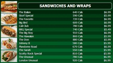 Digital Menu Board - 15 Items in Green color