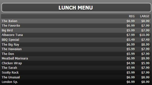 Digital Menu Board - 15 Items with 2 Price Levels in Black color