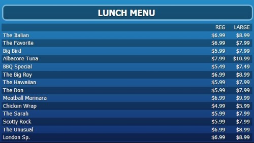 Digital Menu Board - 15 Items with 2 Price Levels in Blue color