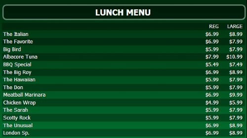 Digital Signage Template for Digital Menu Board - 15 Items with 2 Price Levels