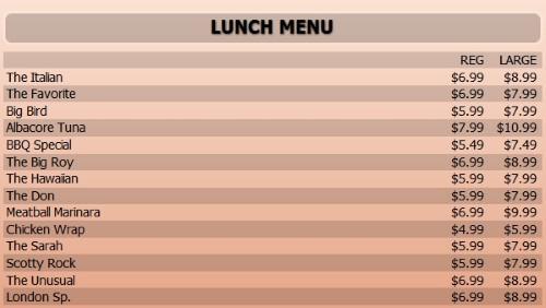 Digital Menu Board - 15 Items with 2 Price Levels in Orange color