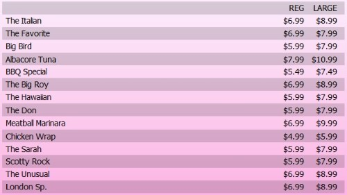 Digital Menu Board - 15 Items with 2 Price Levels in Pink color