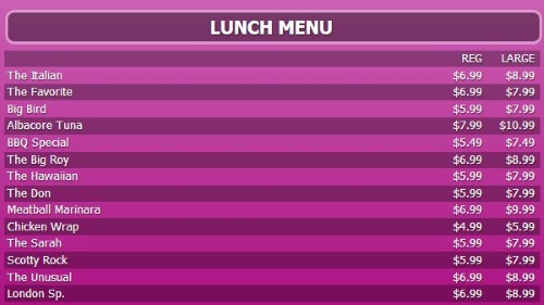 Digital Menu Board - 15 Items with 2 Price Levels in Purple color