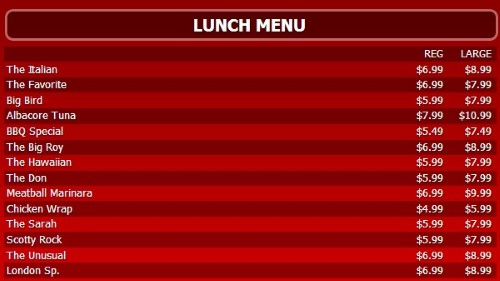 Digital Menu Board - 15 Items with 2 Price Levels in Red color