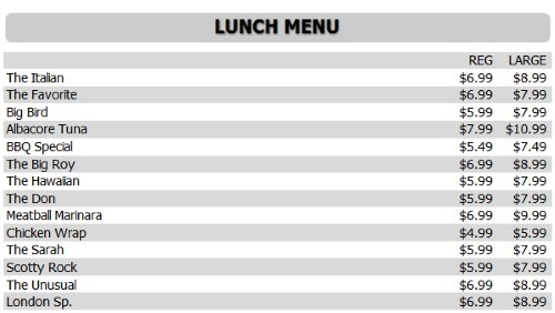 Digital Menu Board - 15 Items with 2 Price Levels in White color
