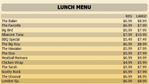 Digital Menu Board - 15 Items with 2 Price Levels in Yellow color