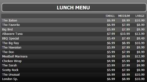 Digital Menu Board - 15 Items with 3 Price Levels in Black color