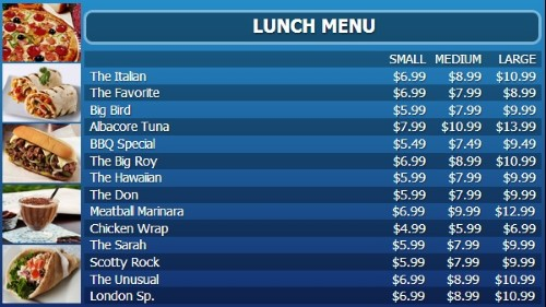 Digital Menu Board - 15 Items with 3 Price Levels in Blue color