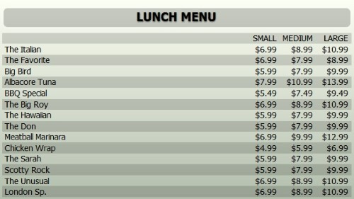 Digital Menu Board - 15 Items with 3 Price Levels in Grey color