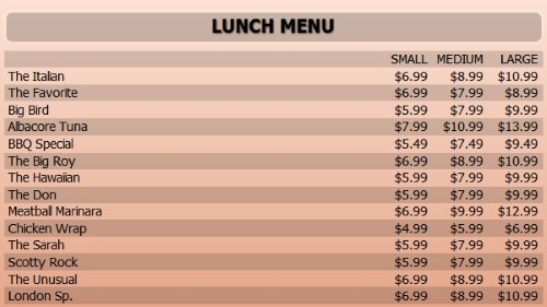 Digital Menu Board - 15 Items with 3 Price Levels in Orange color