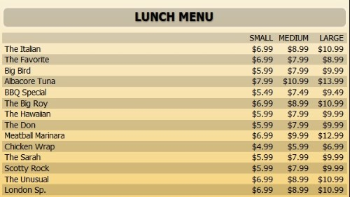Digital Menu Board - 15 Items with 3 Price Levels in Yellow color