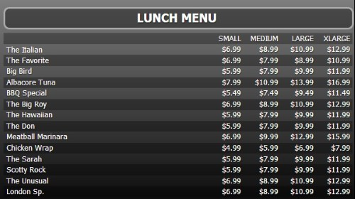 Digital Menu Board - 15 Items with 4 Price Levels in Black color