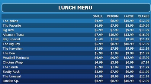 Digital Menu Board - 15 Items with 4 Price Levels in Blue color