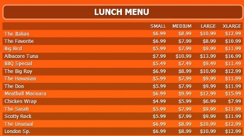 Digital Menu Board - 15 Items with 4 Price Levels in Orange color