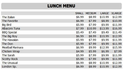 Digital Menu Board - 15 Items with 4 Price Levels in White color