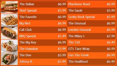 Digital Menu Board - 20 Items in Orange color