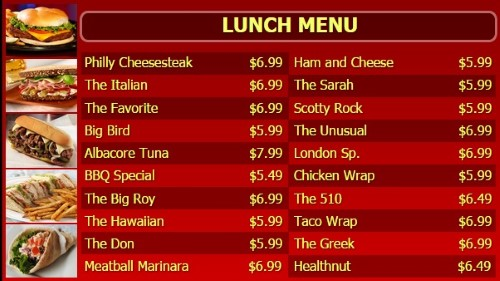 Digital Menu Board - 20 Items - Yellow Text in Red color