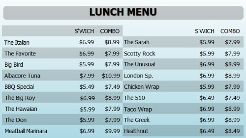 Digital Menu Board - 20 Items with 2 Price Levels in Blue color