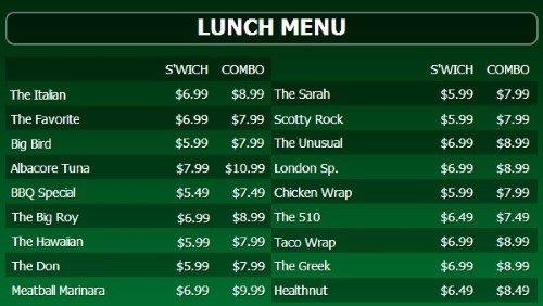 Digital Menu Board - 20 Items with 2 Price Levels in Green color