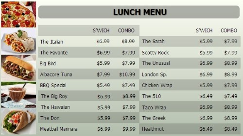 Digital Menu Board - 20 Items with 2 Price Levels in Grey color
