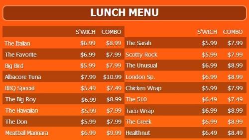 Digital Menu Board - 20 Items with 2 Price Levels in Orange color