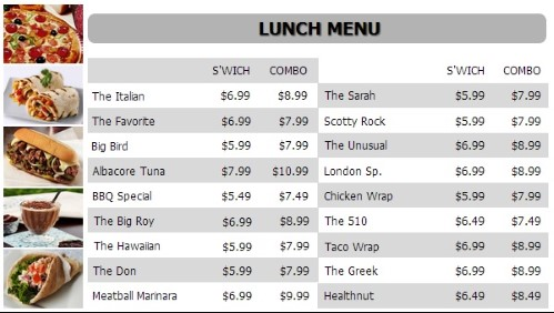 Digital Menu Board - 20 Items with 2 Price Levels in White color