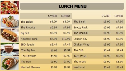 Digital Menu Board - 20 Items with 2 Price Levels in Yellow color