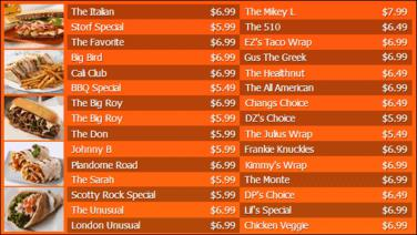 Digital Menu Board - 30 Items in Orange color