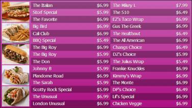 Digital Menu Board - 30 Items in Purple color