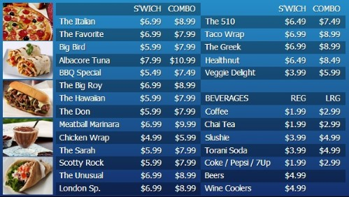 Digital Menu Board - 30 Items with 2 Price Levels in Blue color