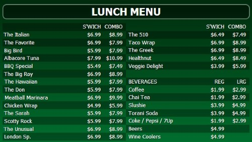 Digital Menu Board - 30 Items with 2 Price Levels in Green color