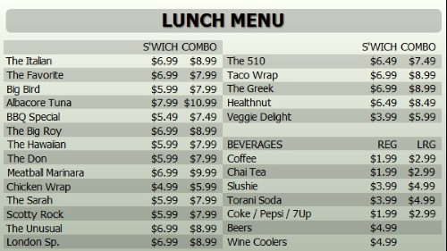 Digital Menu Board - 30 Items with 2 Price Levels in Grey color