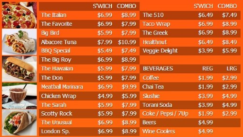 Digital Menu Board - 30 Items with 2 Price Levels in Orange color