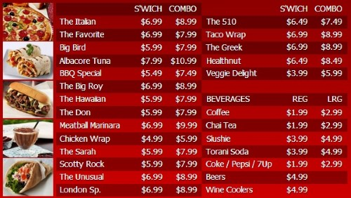 Digital Menu Board - 30 Items with 2 Price Levels in Red color