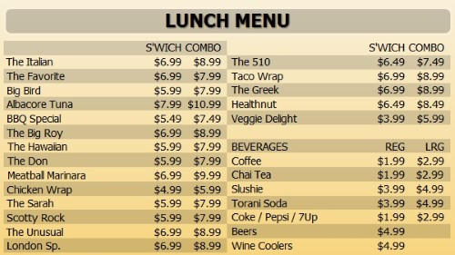 Digital Menu Board - 30 Items with 2 Price Levels in Yellow color