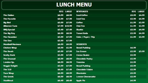 Digital Menu Board - 40 Items with 2 Price Levels in Green color
