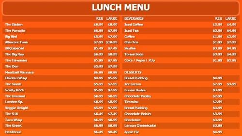 Digital Menu Board - 40 Items with 2 Price Levels in Orange color