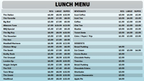 Digital Menu Board - 40 Items with 3 Price Levels in Blue color