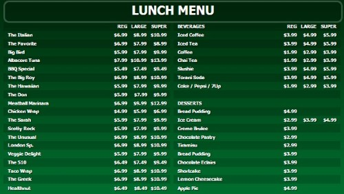 Digital Menu Board - 40 Items with 3 Price Levels in Green color