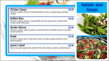 Digital Menu Board - 5 Items in Blue color