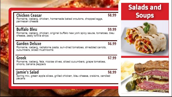 Digital Signage Template for Digital Menu Board - 5 Items