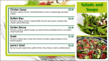 Digital Menu Board - 5 Items in Green color