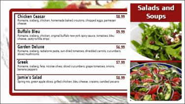 Digital Menu Board - 5 Items in Maroon color