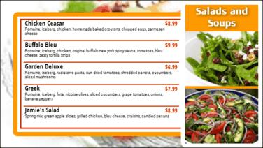 Digital Menu Board - 5 Items in Orange color