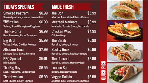 Digital Menu Board - Banner Style - 16 Items in Red color