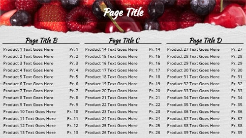 Digital Signage Template for Digital Menu Board - Berries - 39 Items