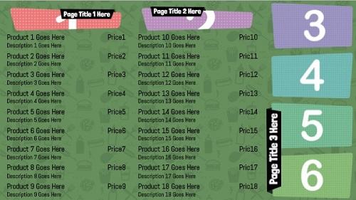Digital Menu Board - Icon Style - 18 Items in Green color