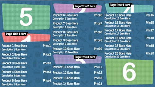 Digital Menu Board - Icon Style - 20 Items in Blue color