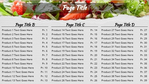 Digital Menu Board - Salad - 39 Items in Grey color
